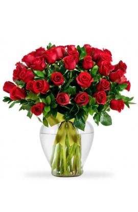 Arreglo Floral Con 50 Rosas Rojas # 101