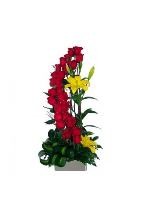 Espiral doble con 24 rosas rojas y lilies amarillas # A0811