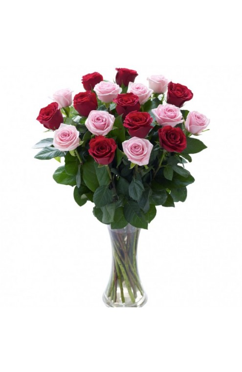 Docena y Media de Rosas Rojas y Rosas en Florero de Cristal # 1508